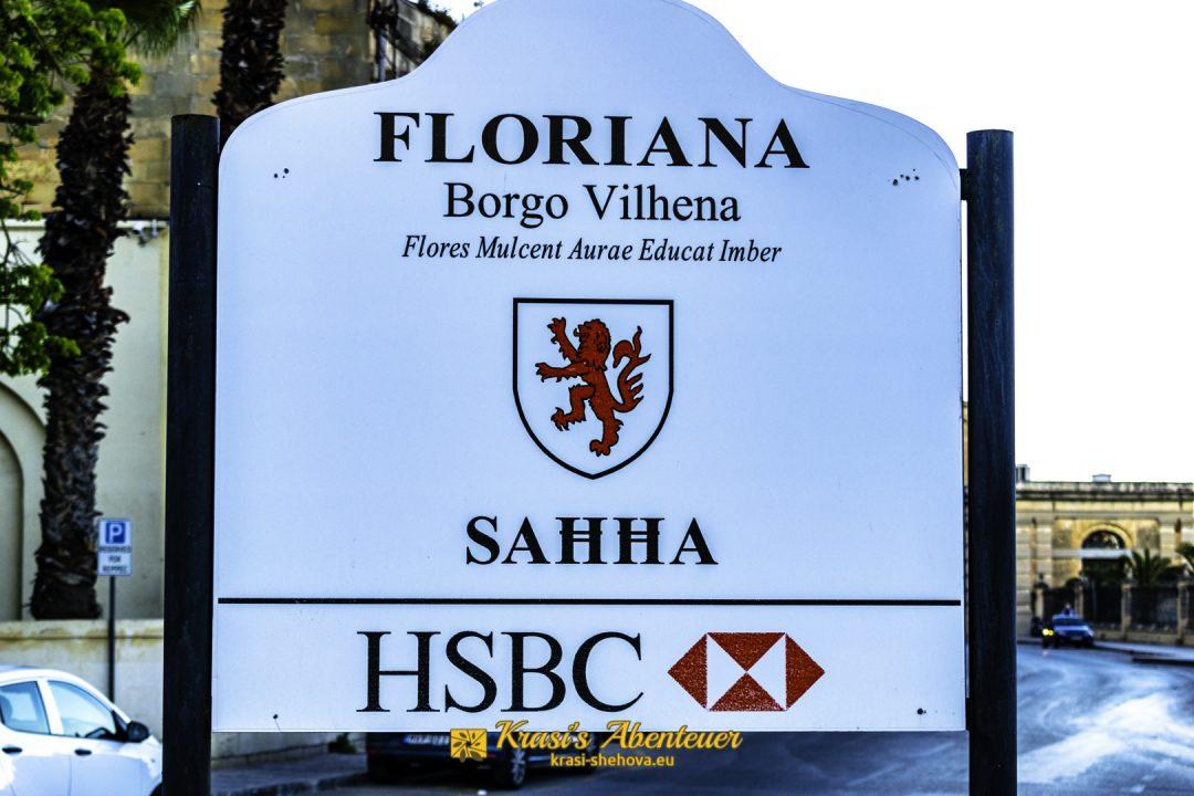 Schild von der Stadt Floriana / Табела на град Флориана