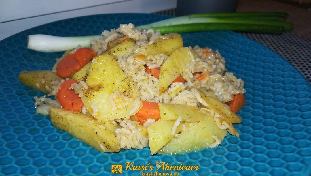 Gyuvetch / Djuvec mit Kartoffeln und Reis